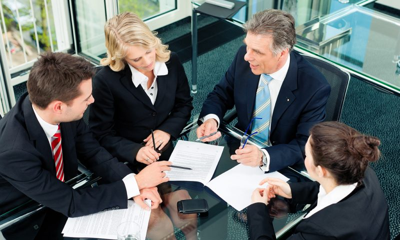 Business team meeting around a table